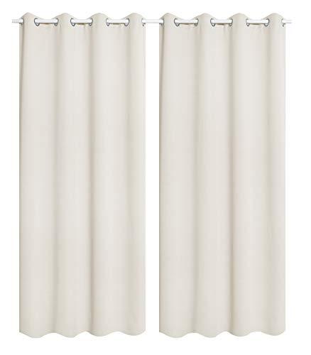 WOLTU 488-2, 2 x Gardinen Vorhang Blickdicht mit Ösen, 2er Set leichte & weiche Verdunklungsvorhängen für Wohnzimmer Schlafzimmer Tür, 135x245 cm, Crème