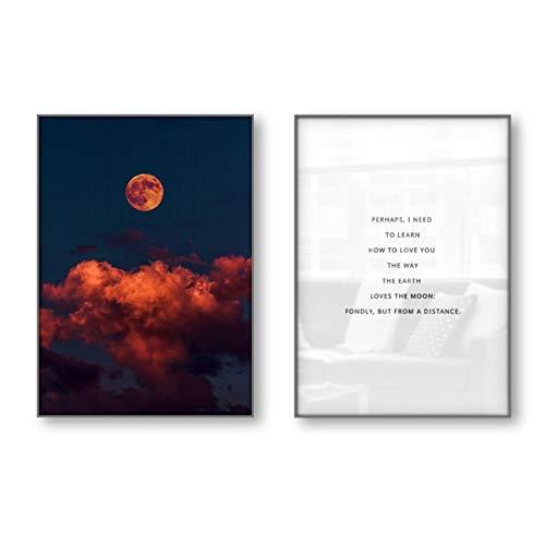 Historia Poema Literatura Motivación Citas inspiradoras Póster Cuadros de pared Arte de la pared Impresión de la lonaLuna-50x70cm Sin marco