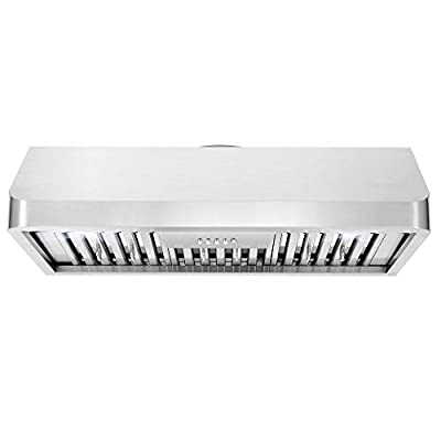 Cosmo QB90 36 in. Under Cabinet Range Hood with Push Button Controls, Permanent Filters, LED Lights, Convertible from Ducted to Ductless (Kit Not Included) in Stainless Steel