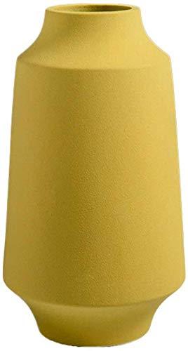 Nachtkastje Vaas, keramiek Geel huis Woonkamer Slaapkamer Vazen TV kabinet Wine Cooler Vazen Met Bloemen Coffee Table Vaas Decor Vazen (Size : 14 * 26CM)