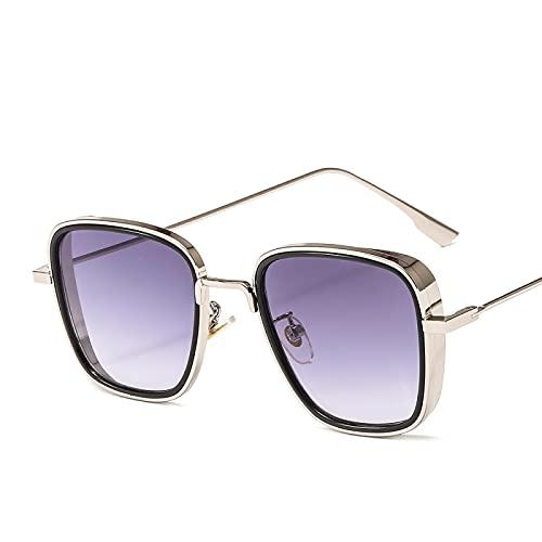 Sunglasses Gafas de Sol de Moda Vintage Steampunk Hombres Gafas De Sol Mujeres Retro Cuadrado Marco De Metal Gafas De So