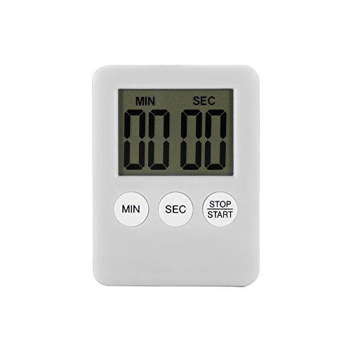 Houkiper pantalla LCD digital Temporizador de cocina cuadrado temporizador de cocina cuenta regresiva alarma de cuenta regresiva con imán (blanco)