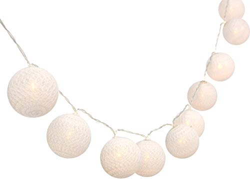 Cadena de luces con bolas de algodón, funciona con pilas, 3,3 m, 20 bolas LED, para interior o pared, iluminación de Navidad, decoración...