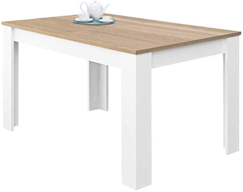 Tavolo Da Pranzo Allungabile Fino a 190 cm In Legno Toledo Tavolino Consolle Estensibile Salotto Salone Sala Pranzo Design Moderno Elegante 190 x 78 x 90 cm Colore Bianco E Rovere