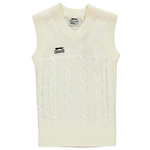 Official Brand Slazenger Classic Cricket Weste Jumper weiß Tank Top Sweater weiß - Weiß - 13 Jahre (XL)