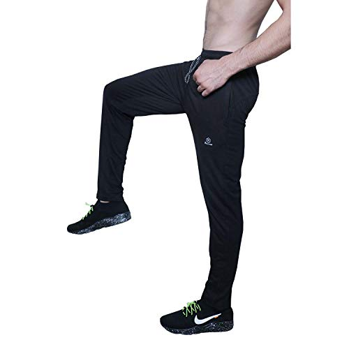 ROLLTOP Men's Cotton Rich Blend Slim Fit Track Pants with Zip Pockets (Black, Medium)
