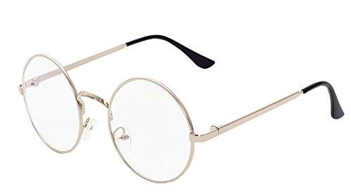 BOZEVON Lentes Claro Anteojos Transparentes - Redondo Ultrafino Marco de Metal Gafas de Lectura Decoración Retro Gafas Para Hombres Mujeres Plata (Redondo)