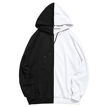 Pandaie Mens Hoodie Pullover Slim Patchwork Long Sleeve Sweatshirt Hooded with Pocket Hoodies Outwear … Black