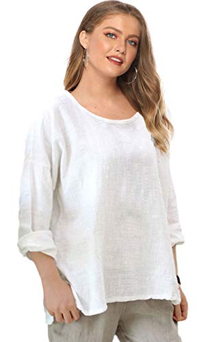 Soojun Women's Casual Loose Long Sleeve Round Collar Cotton Linen Shirt Blouse Tops, Color White, X-Large
