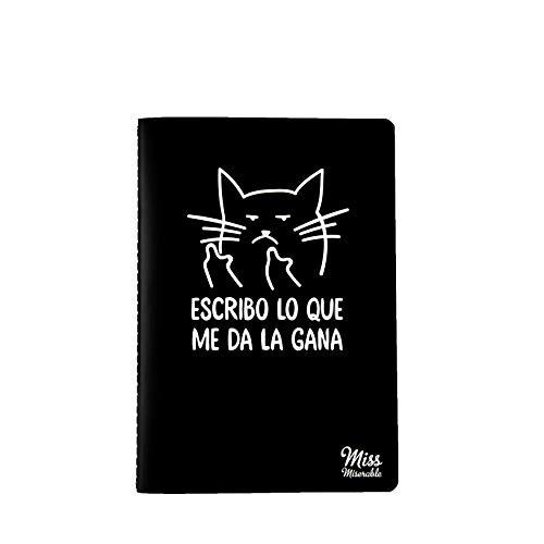 Milimetrado 105132 Miss Miserable - Cuaderno A5 Gato macarra - Regalo práctico con frases graciosas, negro con ilustración en blanco