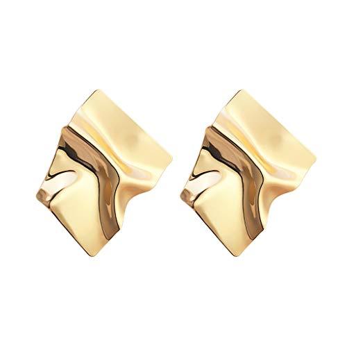 HMEI Pendientes de geometría irregular, magníficos pendientes de aro para mujeres y niñas, exageración, personalidad de moda, vestido de fiesta (color oro)