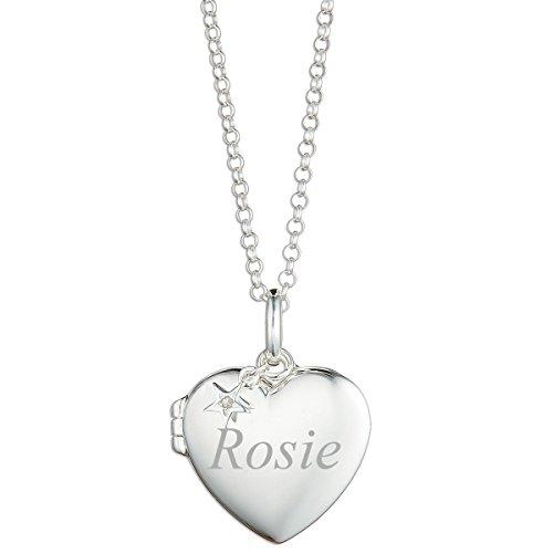 Molly Brown London Herz-Medaillon aus Sterlingsilber mit einem 0,5 Karat Diamant, personalisierbar, ideal für Blumenmädchen-Schmuck und Teenager-Geburtstagsgeschenk
