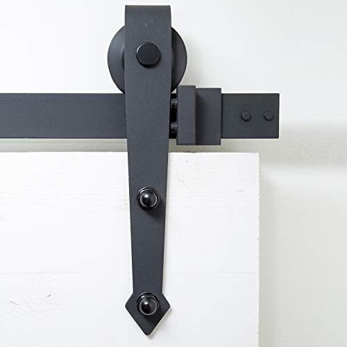 Schiebetürsystem Pfeilform 200 cm - komplettes Set mit Laufrollen und Schiene - 2 Meter Schiebetürsystem Pfeilform - Arrow Black