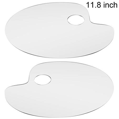 AIEX 2 Stück Klares Acryl Transparent Oval Art Palette für DIY Kunst, Handwerk, Malerei (30x20cm)