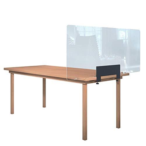 Rulopak Glastrennwand Plexiglas mit Tisch Klemme Metall, Trenner, Trennwand, Spuckschutz, Glas (B 150 cm x H 60,80 cm)