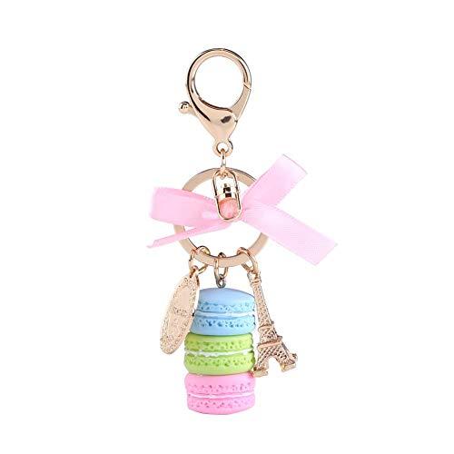 HEEPDD Creatieve sleutelhanger, kleurrijke schattige maconen sleutelhanger legering mini Eiffeltoren hanger sleutelhanger kleine hanger accessoires voor autosleutel handtas
