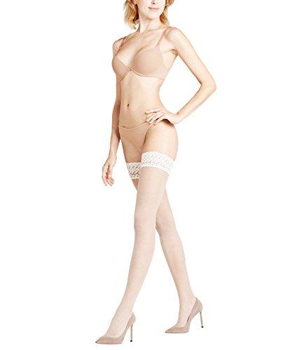 FALKE Damen Stay Ups Shelina 12 Denier - Ultra-Transparente, 1 Paar, Elfenbein (Champagne 2579), Größe: L