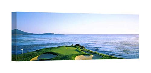 Easy Art Prints Panoramic Images's 'Sand Traps in a Golf Course, Pebble Beach Golf Course, Monterey, California' Canvas Art 36 x 12