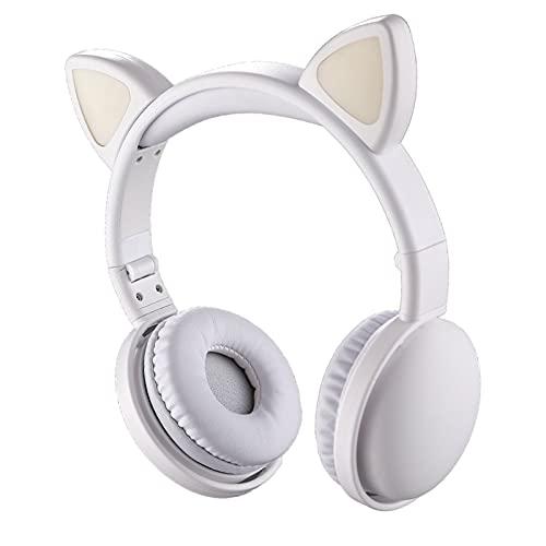 MERIGLARE Gato Auriculares Bluetooth 5,0 LED con cancelación de Ruido Plegable sobre el oído Incorporado micrófono inalámbrico para Adultos niños Adolescentes - Negro