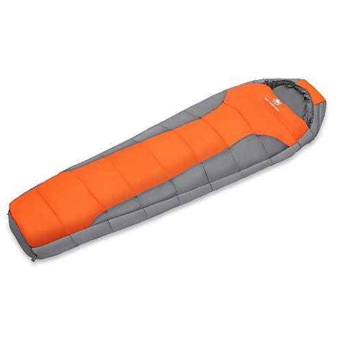 TFGY Saco de Dormir para Acampar de algodón, Bolsa de Dormir al Aire Libre Momia Invierno Mimi Bolsa de Dormir Caliente Sistema de Lavado a máquina,Orang