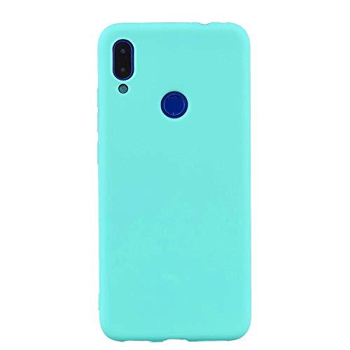 cuzz Funda para Xiaomi Redmi 7+{Protector de Pantalla de Vidrio Templado} Carcasa Silicona Suave Gel Rasguño y Resistente Teléfono Móvil Cover-Azul Claro