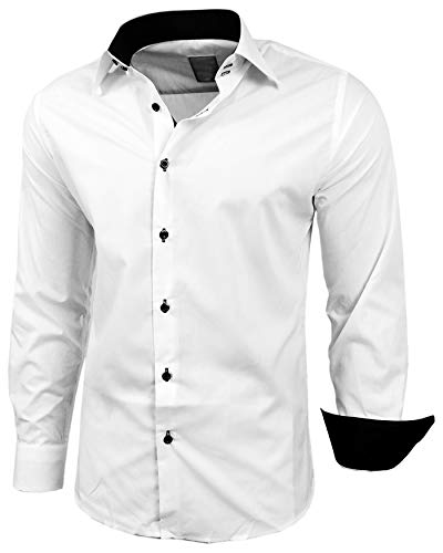 Baxboy Herren-Hemd Slim-Fit Bügelleicht Für Anzug, Business, Hochzeit, Freizeit - Langarm Hemden für Männer Langarmhemd R-44, Farbe:Weiss/Schwarz, Größe:2XL