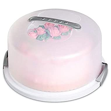 Round Cake Carrier Cover with Dome - Cake Stand with Lid - Dessert Serving Platter with Handle and Latch - Cupcake Holder Pies Display with Base -1 pack