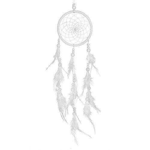 Traumfänger für gute Träume mit Perlen und echten Federn weiß Ø 11 cm