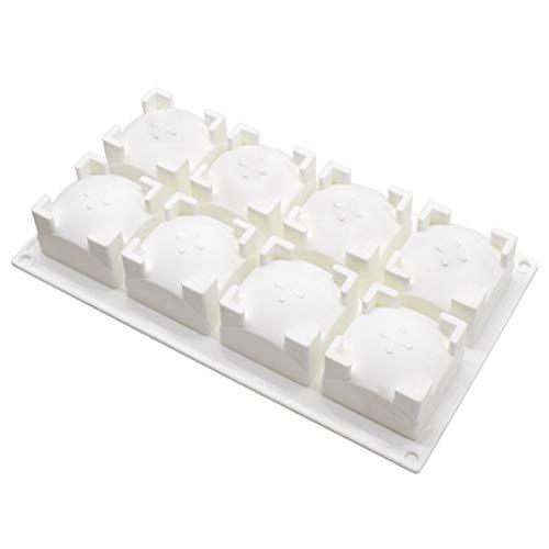 LCZ 3D-Backformen, Mousse-Kuchenform Silikon Backform, 8 löchern Quadratische runde Oberseite mit,Weiß
