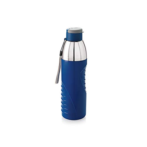 Cello Insulated Kids BPA Free Water Bottle 20 Oz (600 ml) Puro Gliss Plastic Easy Carry Ergonomic Bottle with Wide Mouth & Easy Flip Cap for Office, Gym, Running Reusable Drinking Container (Blue)