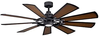 """Kichler 300265DBK Gentry 65"""" Ceiling Fan with LED Lights and Wall Control, Distressed Black"""
