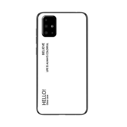 Galaxy A51 5G SC-54A/SCG07 ケース/カバー 背面強化ガラス シンプル タフで頑丈 背面カバー サムスン ギャラクシーA51 5Gかっこいい スリム ケース/カバー スマホケース おしゃれ カバー(ホワイト)