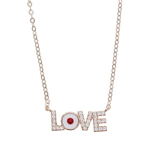 CHIY-GBC Plata Oro Rosa 925 Plata esterlina Carta de Amor Collar Esmalte Blanco Mal de Ojo Cartas de Amor Regalo de la Suerte para el Amante