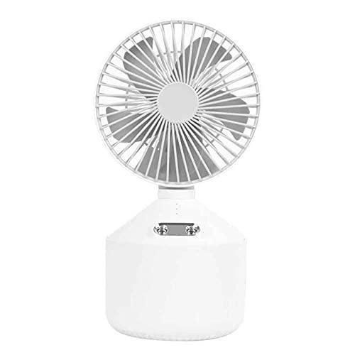Ventilador eléctrico portátil Ventilador de Escritorio USB 2 en 1 Humidificador silencioso de Doble pulverización Mesa de Oficina en casa Mini Ventiladores de refrigeración (Color : Blanco)