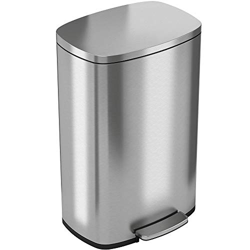iTouchless SoftStep 13.2 Gallon Stainless Steel Step Trash Can...
