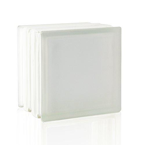 2 Stück FUCHS Glassteine Vollsicht Weiß 2-seitig satiniert (Milchglas) 19x19x15 cm - F60 (Brandschutz)