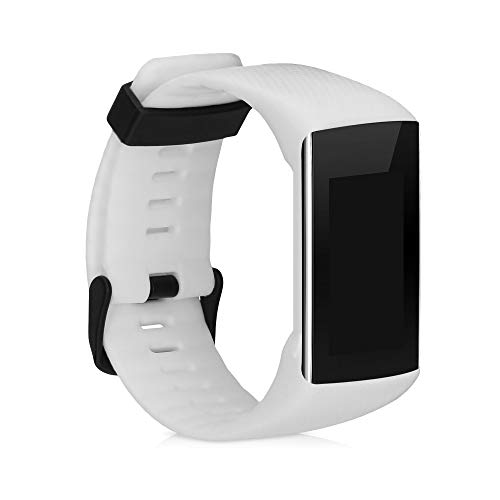 kwmobile Silicone Watch Strap Compatible with Polar A360 / A370 - Fitness Tracker Band with Clasp - White Matte