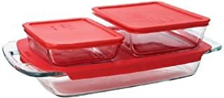 Premium Pyrex Easy Grab 6 piece value pack includes 1-each 3 quart oblong 3cup rectangle storage 6 cup rectangle storage Red Plastic Covers