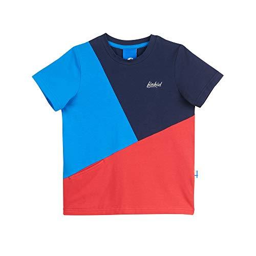 Finkid Ankkuri Colorblock-Blau-Rot, Kinder Kurzarm-Shirt, Größe 140-150 - Farbe Navy - Red