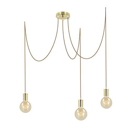 Pendelleuchte 3 flammig messing/gold metall E27 mit Textilkabel DIY höhenverstellbare Deckenleuchte im Vintage design | Hängelampe Wohnzimmerlampe Deckenbeleuchtung Hängeleuchte (Whisky, 3x3 Meter)