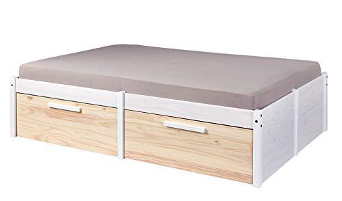 Inter Link FSC Funktionsbett Doppelbett inkl. Schubkasten 140x200 Schubladen Massivholz weiß natur Kinderzimmer Jugendzimmer Schlafzimmer
