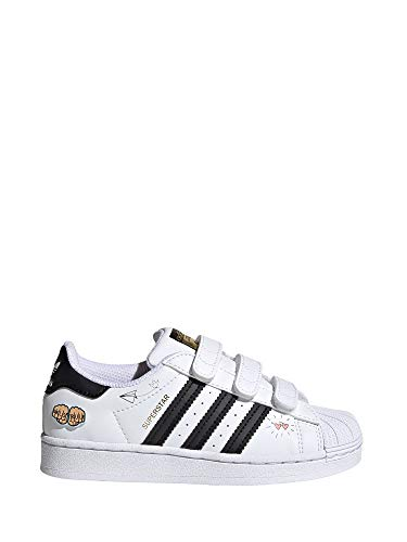adidas Superstar CF C, Zapatillas Deportivas Unisex niños, FTWR White Core Black Gold Met, 28 EU