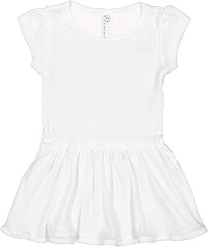 RABBIT SKINS Toddler Girl Cotton Short Sleeve Dress, White, 5/6