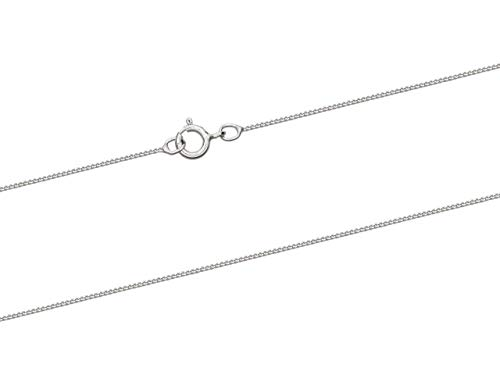 9ct White Gold 0.5mm Diamond Cut Curb Chain 16'/40cm Unhallmarked Jewellery...