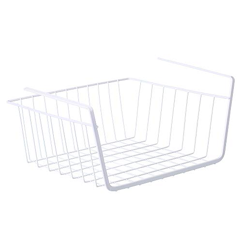 Decdeal Metall Hängekorb Unter Dem Regal Aufbewahrungskorb Belastbarkeit 4kg Ablagekorb für Küche Büro Schlafzimmer Tischplatte (Weiß)