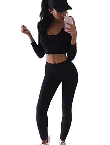 Minetom Damen Sport Yoga Outfit U-Ausschnitt Langarmhemd Plus Jumpsuit Hut + Fest Leggings Schwarz DE 36