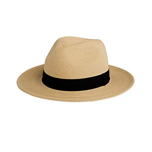 Pineapple&Star Sun Straw Fedora Beach Hat Fine Braid UPF50+ for Both Women Men(Small, Beige)
