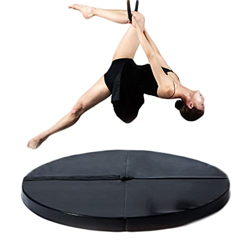 Pole Dancing Crash Mat, Crash Folding Round Dance Padded Mat, Gymnastic Yoga Stripper Beginner Thickened Protection Mat, 160Cm in Diameter (62 Inches),Black,160cm*3cm
