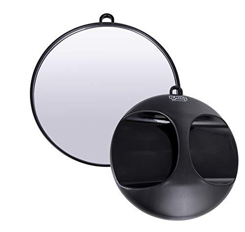 Ponik\'s Tragbarer schwarzer professioneller Friseurspiegel für Salonfriseure, Schwarz, 28 cm, Runde