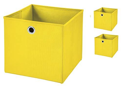 Stick&Shine 3X Aufbewahrungs Korb Gelb Faltbox 32 x 32 x 32 cm Regalkorb faltbar